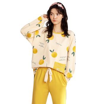 馨霓雅秋女款柠檬印花家居服CM-5047