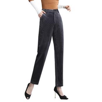 馨霓雅灯芯绒小脚烟管裤JV8335