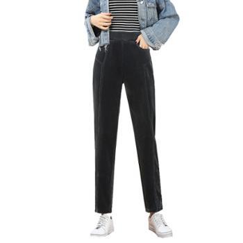馨霓雅秋女款加绒灯芯绒小筒管裤JV8353