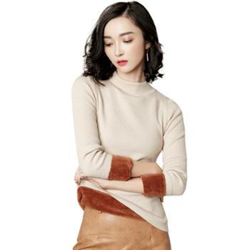 馨霓雅冬女款加厚加绒打底针织衫T3049