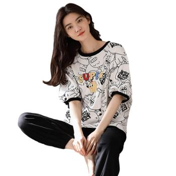 馨霓雅女款卡通短袖长裤家居服CM-5203