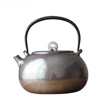 鹤川造物银壶纯银烧水壶 纯手工茶道家用本一张打北村款银壶