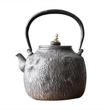 鹤川造物银壶纯银烧水壶纯手工一张打仿石纹云南家用银壶茶具煮水壶