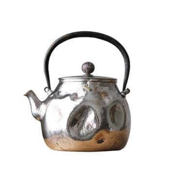 鹤川造物银壶纯银烧水壶纯手工茶道一张打补丁银壶泡茶壶