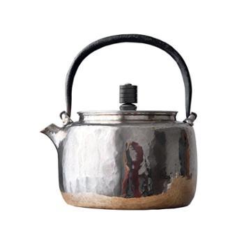 鹤川造物银壶纯银烧水壶家用茶道日本纯手工铁提梁木钮银壶
