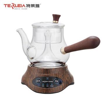 特莱雅原木侧把手柄茶壶迷你养生壶办公室小型加厚高鹏硅全玻璃分体电热蒸茶壶036TC