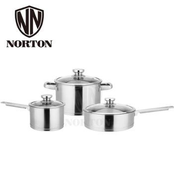 诺顿尼特中式套装锅4HNT003不锈钢锅具三件套奶锅汤锅平底煎锅