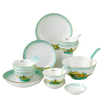 德铂米兰达餐具套装陶瓷碟碗勺盘22件套DEP-765