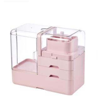 傲家化妆盒收纳盒防尘便携手提桌面梳妆台整理护肤品置物架