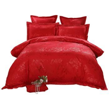 LOVO家纺1.8米大床结婚大红色提花四件套全棉纯棉床品被套床单婚庆六件套-花囍220cmx240cm