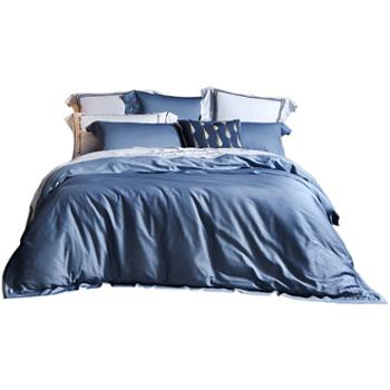 LOVO家纺60支长绒棉四件套纯棉全棉简约纯色床品罗莱生活 拉菲特蓝色220x240cm