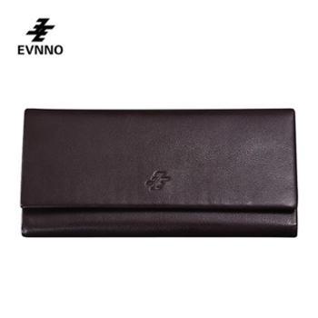 意威诺(evnno)男士多功能三折长款钱包 真皮 大容量 多卡位商务钱包 Q0535-A3K