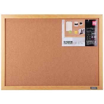 得力(deli)8761 40*30cm软木板/留言板/照片墙(木边框、针插留言)