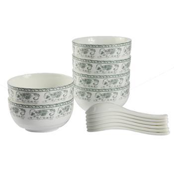 如昱秋韵釉中彩韩式陶瓷碗12头套装