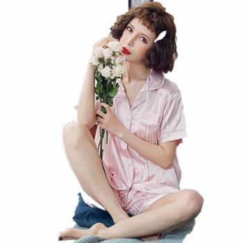众缘鸟睡衣女夏短袖丝绸性感夏天女人薄款大码家居服两件套冰丝短裤套装