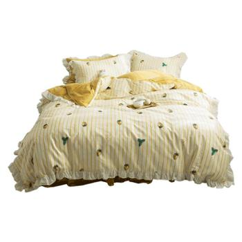 花花公子网红款全棉床上用品四件套床裙纯棉北欧风床单被套三件套