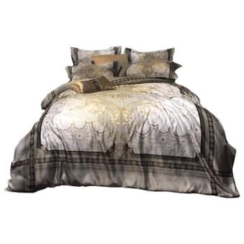 花花公子100S冰丝真丝四件套欧式丝滑裸睡床单被套北欧风夏季床笠床上用品