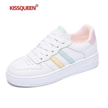 自由绽放KISSQUEEN新款女休闲运动鞋小白鞋板鞋微增高透气高弹YC03