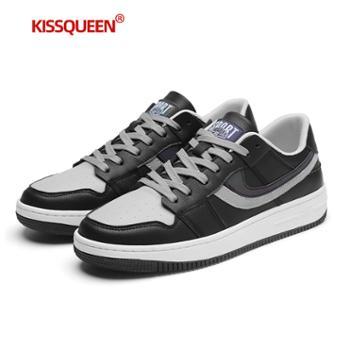 自由绽放KISSQUEEN新款男休闲运动鞋小白鞋板鞋透气跑步男鞋5855