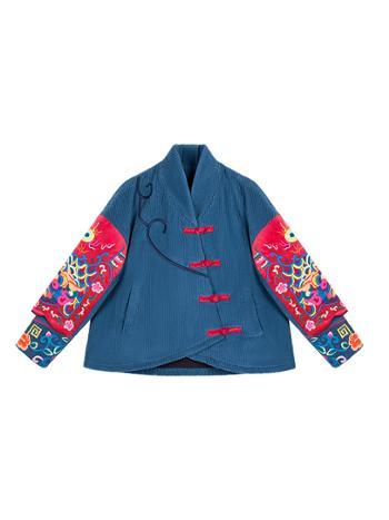 素萝原创兴云冬季灯芯绒上衣外套新款宽松中国风刺绣棉衣女