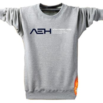 Aeroline时尚长袖T恤男装印花圆领加绒加厚大码潮青年保暖上衣