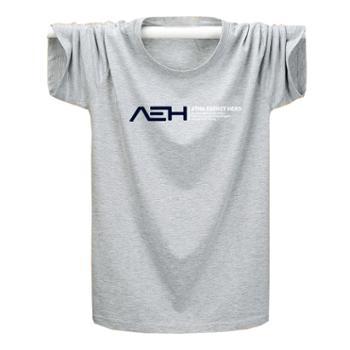 Aeroline春季新款时尚短袖T恤男装印花圆领大码宽松上衣