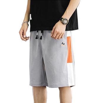 Aeroline夏季直筒宽松运动侧边拼接撞色五分短裤男