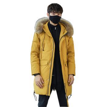 柏誉/Aeroline 羽绒服男士 中长款工装韩版青年学生加厚外套
