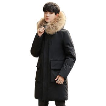 柏誉/Aeroline 男士羽绒服 冬季中长款加厚过膝大毛领白鸭绒派克大衣外套