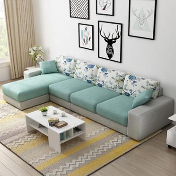 布艺沙发中小户型四位直排沙发转角贵妃沙发现代简约北欧日式沙发