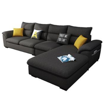 科莱斯克简约现代乳胶小户型布艺沙发两用组合客厅L型家具