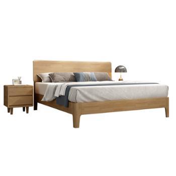 科莱斯克现代简约1.8米1.5m日式双人主卧小户型实木床