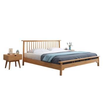 科莱斯克现代简约1.8米1.5m日式双人婚床主卧经济型家具实木床