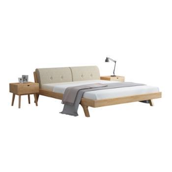 现代简约1.8米1.5m日式软靠主卧室实木床