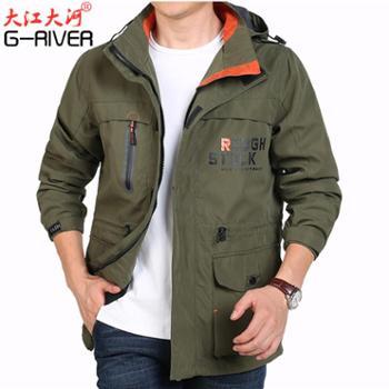 大江大河G-RIVER宽松直筒多口袋夹克男户外运动冲锋衣大码外套