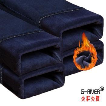 大江大河/G-RIVER加绒加厚男式保暖牛仔裤子一体绒,宽松版型