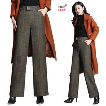 大江大河G-RIVER新款羊毛呢女裤子时尚中腰阔腿裤