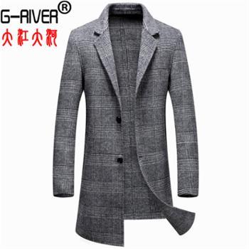 大江大河G-RIVER双面呢毛呢外套直筒大码夹克男式上衣长款风衣爸爸装风衣