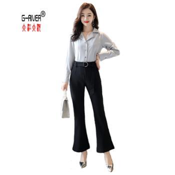 大江大河G-RIVER春季简约时尚潮流女士衬衣/套装长袖休闲个性优雅衬衫