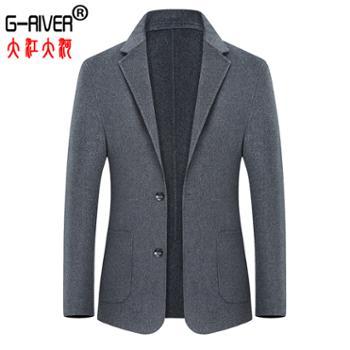 大江大河/G-RIVER双面毛呢男式西服西装后开叉,单排扣