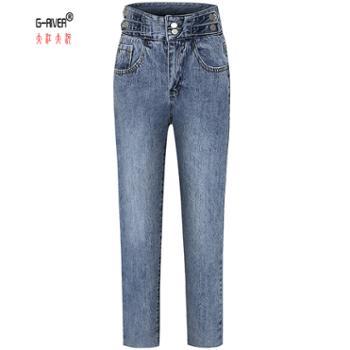 大江大河/G-RIVER女式高腰直筒牛仔裤宽松复古裤子黑色蓝色