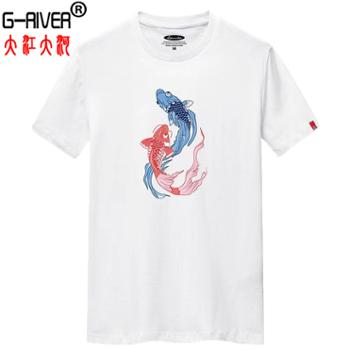 大江大河/G-RIVER全棉T恤衫男士短袖印花3D立体印花S-6XL
