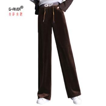 大江大河/G-RIVER女式金丝绒阔腿裤显廋黑色/咖啡色/蓝色