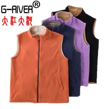 大江大河/G-RIVER两面穿摇粒绒马甲情侣款柔软保暖