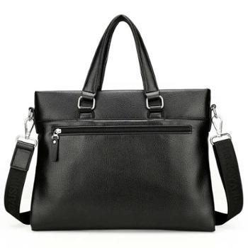 鸿岩袋鼠横款手提包男包商务软公文包单肩包斜挎休闲包送手包
