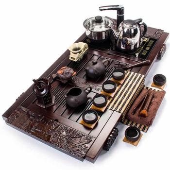 聚森德化茶具紫砂茶具功夫茶盘实木套装整套自动上水电热炉一体茶台