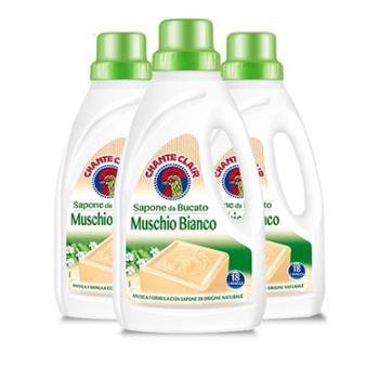 意大利进口大公鸡头管家 洗衣液洗衣皂液白苔香味1000ml*3瓶装