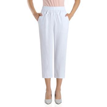 百旅Bailv夏季松紧腰直筒女宽松弹力薄款八分裤子