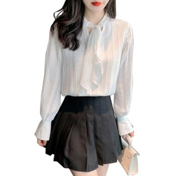 百旅女士衬衫秋季蝴蝶结气质雪纺女灯笼袖打底衬衣