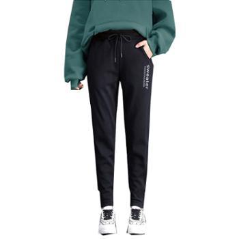 百旅女士休闲裤冬装宽松加绒萝卜裤